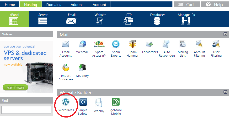 1 Click Install of WordPress in CPanel