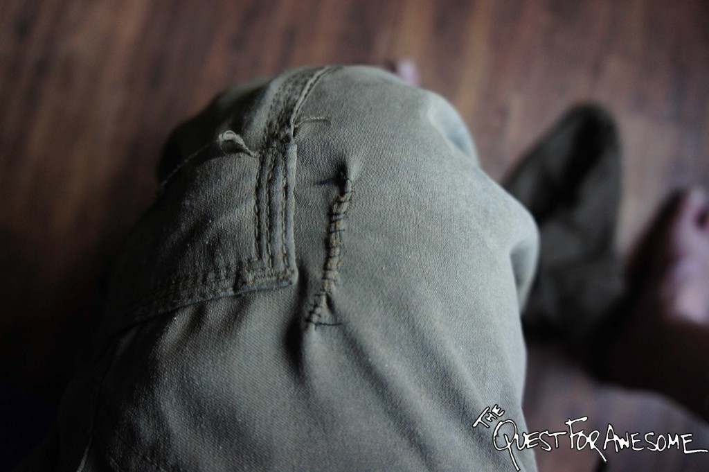 Sewing up a pants hole