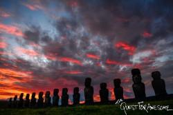 Sunrise at Ahu Tongariki Easter Island, Chile
