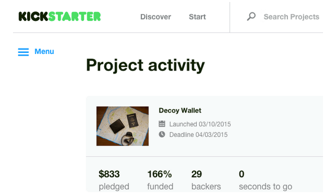 Decoy Wallet - Kickstarter Project Activity